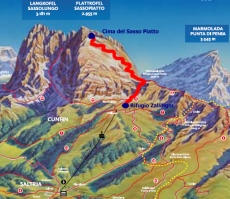 cartina escursione da Rifugio Zallinger alla cima del Sasso Piatto